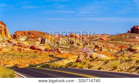 The Winding White Domes Road As It Winds Through The Colorful Aztec Sandstone Rock Formations In The