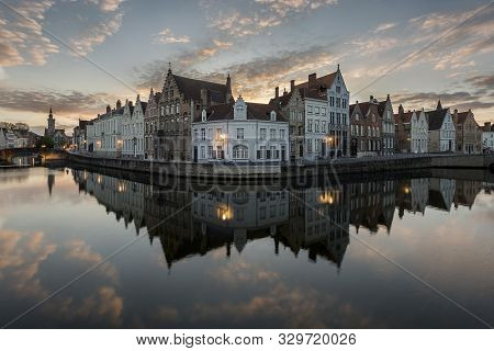 The Mirrorrey In Bruges (belgium) During The Sunset. One Of The Hotspots To Visit In Bruges For The