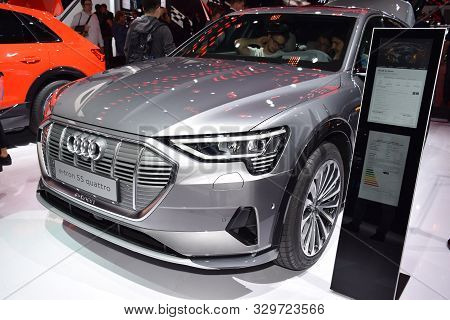 Frankfurt, Germany, September 10-2019: Audi E-tron 55 Quattro Iaa 2019