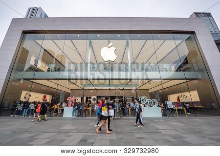 Chengdu, Sichuan Province, China - Oct 14, 2019 : Apple Store Building In Taikooli Commercial Area I