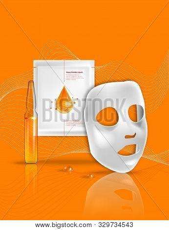 Facial Sheet Mask, Sachet Package. Transparent Glass Ampoule Liquid Drug Solution. Beauty Product Pa