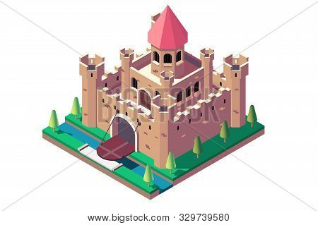 3d Isometric Medieval Castle With Open Gate And Ditch. Isolated Concept Big Building For Rich And Ki