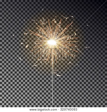Sparkler Candle Vector Isolated. Bengal Fire Light Effect. Birthday Firecracker Sparkle Effect. Vect