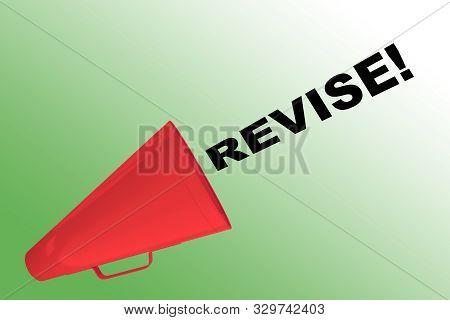 3d Illustration Of Revise! Title Flowing From A Loudspeaker
