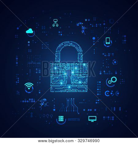 Concept Of Cyber Security, Shape Of Padlock With Digital Technology Element