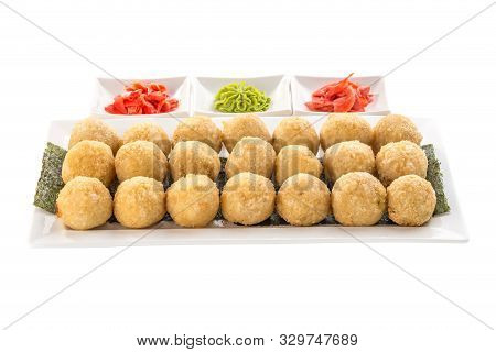 Deep Fried Rice Balls With Salmon And Cream Cheese With Ginger, Wasabi Isolated On White Background