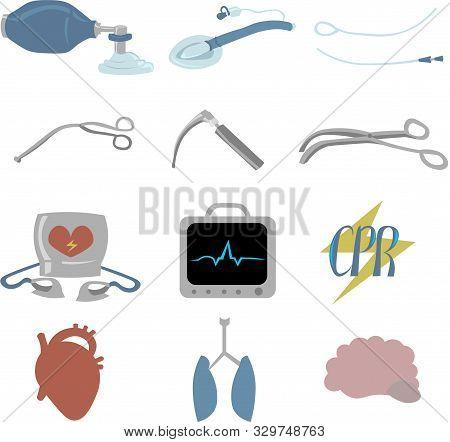 Set Of Objects For Cardiopulmonary Resuscitation. Urgent Care. Medical Equipment. Defibrillator, Ecg