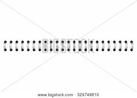 Realistic 3d Metal Spiral Spring. Template For Notebook Bind, Calendar
