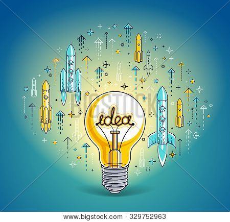 Shining Light Bulb And Set Of Launching Rockets, Startup Ideas Creative Concept, E-commerce Allegory