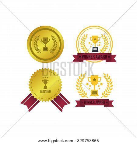 Badge Award Vector Image. Golden Award Winner Emblem Vector Design