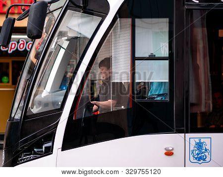 Moscow, Russia - October 19, 2019: Modern Low-floor Tram