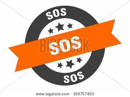 Sos Sign. Sos Orange-black Round Ribbon Sticker