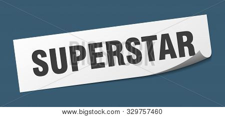 Superstar Sticker. Superstar Square Isolated Sign On White Background