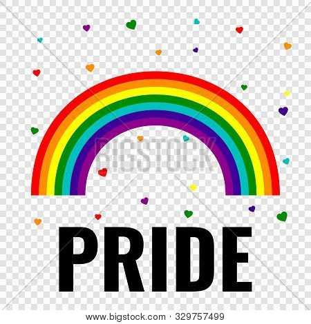 Pride Gay Logo With Rainbow Isolated On White Background