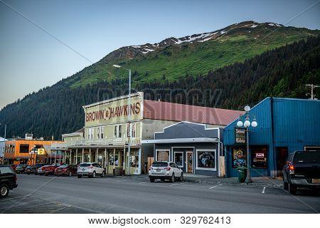 Seward, Alaska - June 7 - Old West Style Store Fronts As Seen On June 7 2019 In Seward Alaska.