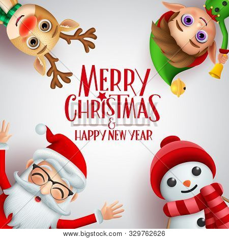 Merry Christmas Greeting Vector Background Template. Merry Christmas And Happy New Year Text With Sa