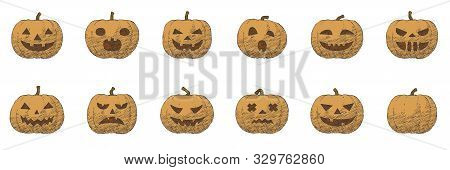 Hand Drawn Pumpkin Emotion Icons For Halloween, Scary And Creepy October Vector Illustration. Graphi