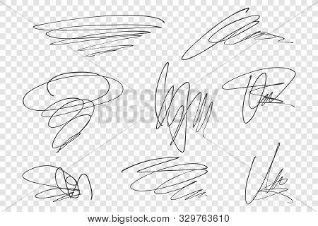 Pencil Scrawls Vector Illustrations Set. Chaotic Strokes, Random Hand Drawn Scribbles Pack. Ink Free