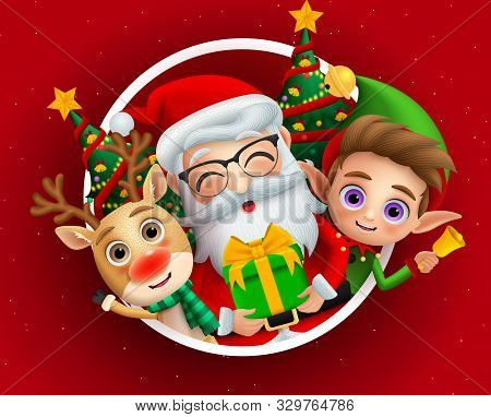 Christmas Holiday Season Characters Vector Background Design. Christmas Characters Of Cute Santa Cla