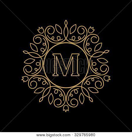 Round Emblem With The Gold Letter M On Black Background. Elegant Floral Monogram Template Design. Lo