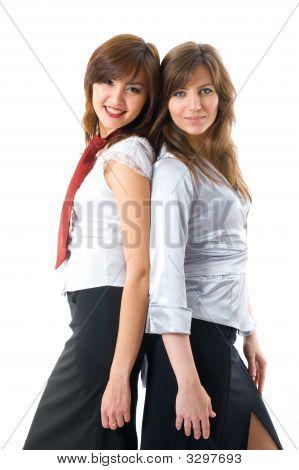 Two Attractive Businesswomen In Team