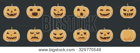Pumpkin Smile Toon Icons For Halloween, Fun And Evil October Vector Illustration For Kids As Simple