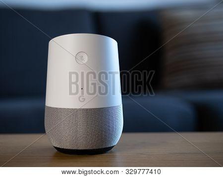 Uk, October 2019: Google Home Smart Speaker In Home Environment