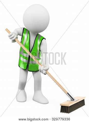 3d White People Illustration. Sweeper Working With His Broom. Isolated White Background.