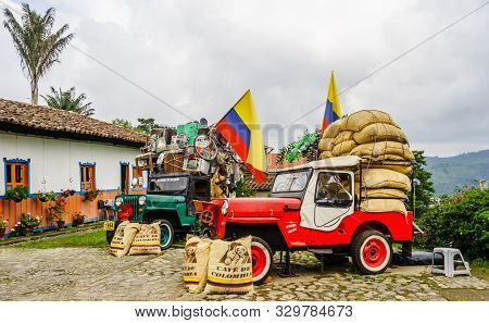 Willy Jeeps In The Village Of Salneto Next To The Valley Of Salento In Colombia On 21th March 2019