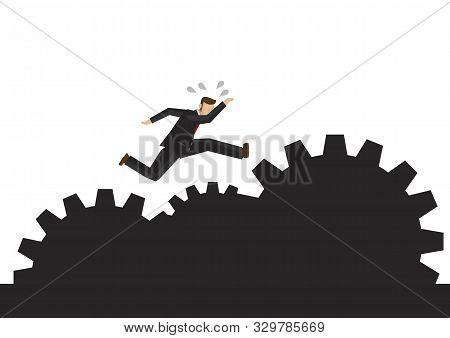 Businessman Running On The Rocky Path Making Up Of Gears. Concept Of Motivation, Overcoming Risk, Ch