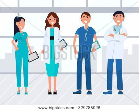Team Of Young Healthcare Workers And Doctors Wearing Medical Uniform And Stethoscope. Hospital, Nurs