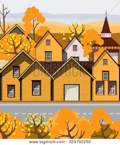 Old Retro Town With Yellow Buildings And Cobblestone Paved Road In Front. Autumn Season Flat Cartoon