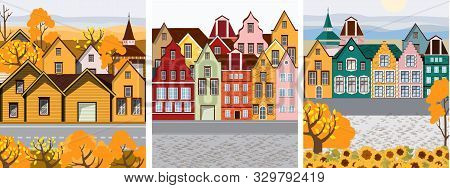 Pack Of Old Retro Town With Colorful Buildings And Cobblestone Paved Road In Front. Flat Cartoon Vec