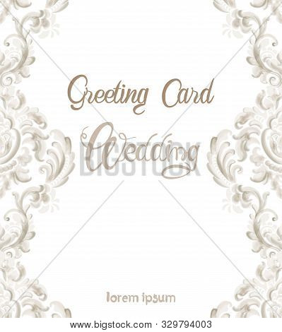 Wedding Greeting Card With Rococo Texture Pattern Vector. Floral Ornament Decoration. Victorian Engr