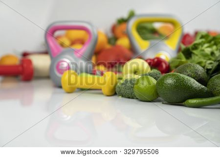Fitness Concept - Healthy Nutrition And Equipment For Fitness Exercises On The White Background.