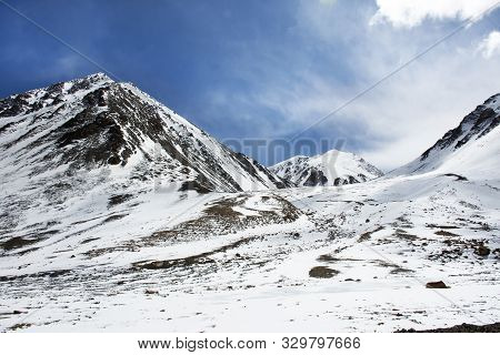 View Landscape Of Himalaya Mountains On Keylong Leh Road - Leh Manali Highway Between Bring Traveler