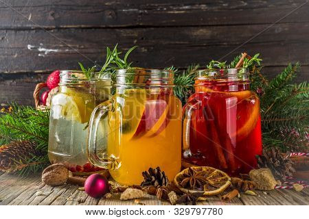 Autumn Winter Sangria, Mulled Wine Or Hot Spiced Cider Cocktails. Red, White And Orange Hot Winter D