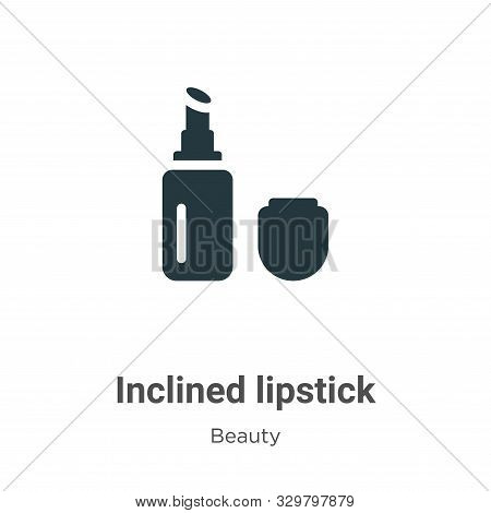 Inclined lipstick icon isolated on white background from beauty collection. Inclined lipstick icon t