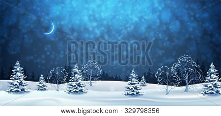 Winter Night Landscape. Christmas Panoramic Banner. Vector Winter Wonderland. Snowy Night With Firs,