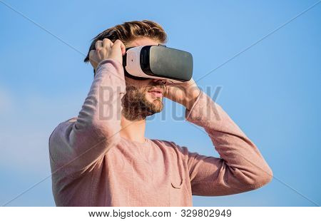Virtual Reality Goggles. Augmented Reality. Gamer Concept. Modern Technology. Digital Future And Inn