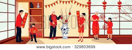 Happy Chinese Family Prepares For Lunar New Year And Decorates House With Lanterns And Flags. Vector
