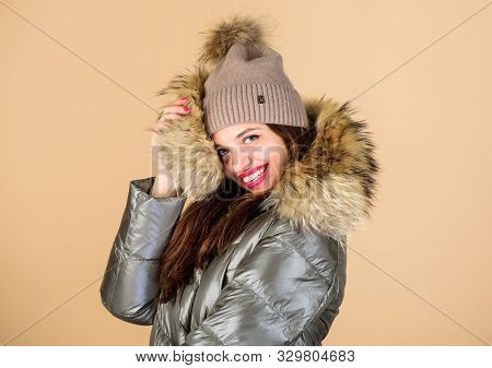 Be Stylish This Winter. Emotional Woman In Jacket. Winter Outfit. Enjoying Her Outfit. Pretty Girl W