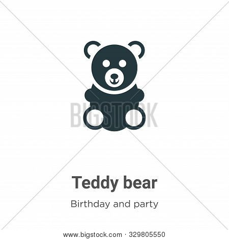 Teddy Bear Vector Icon On White Background. Flat Vector Teddy Bear Icon Symbol Sign From Modern Birt