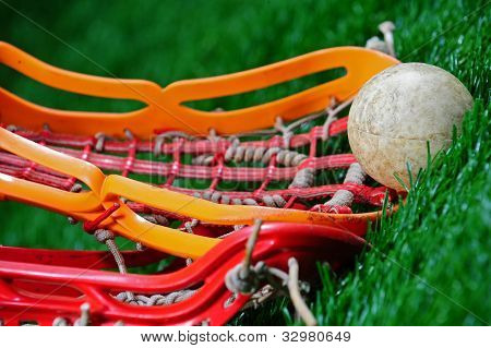 Abstract angle of a lacrosse close up