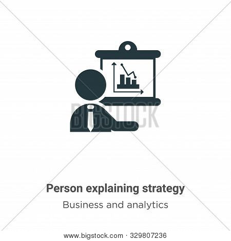 Person explaining strategy vector icon isolated on white background from modern business and analyti