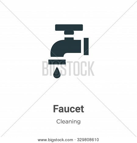 Faucet Vector Icon On White Background. Flat Vector Faucet Icon Symbol Sign From Modern Cleaning Col