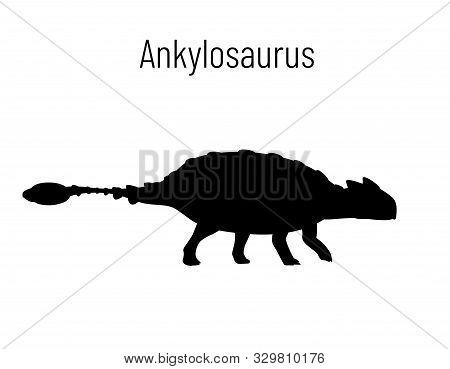 Ankylosaurus. Ornithischian Dinosaur. Monochrome Vector Illustration Of Silhouette Of Prehistoric Cr