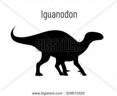 Iguanodon. Ornithischian Dinosaur. Monochrome Vector Illustration Of Silhouette Of Prehistoric Creat