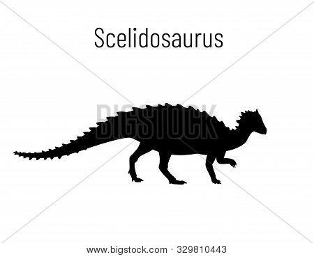 Scelidosaurus. Ornithischian Dinosaur. Monochrome Vector Illustration Of Silhouette Of Prehistoric C