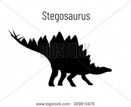 Stegosaurus. Ornithischian Dinosaur. Monochrome Vector Illustration Of Silhouette Of Prehistoric Cre